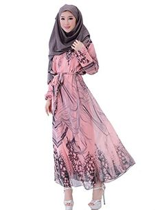 GladThink Womens Muslim Long Sleeves Chiffon Plus Size Maxi Dress Pink -- Details can be found by clicking on the image.