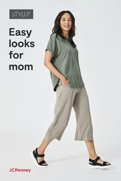 Give the gift of all-day comfort with easy new pieces from Stylus by JCPenney. Make of the softest fabrics in relaxed, free-flowing fits, these essentials are the building blocks of any active woman's closet. And our versatile new pieces make a great present for Mother's Day. Update her look with a breezy top or pull-on pants. Or give her weekend wardrobe a boost with a detailed tee and super-soft shorts. Because when Mom feels good and looks great, she can do anything!