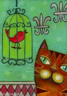 Lana Wynne Orange Cat Bird Cage Room 8 x 10 Folk Art Print | eBay