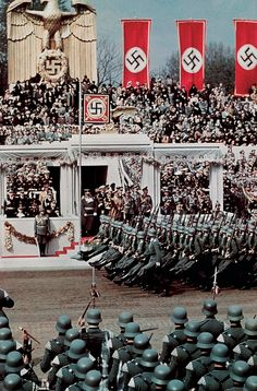 Soldiers goose-step past the Führer in honor of Hitler's 50th birthday, April 20, 1939. Less than five months later, on September 1, the Third Reich's forces invaded Poland; on September 3, England and France declared war on Germany. The Second World War had begun.