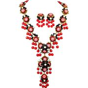 STANLEY HAGLER, NYC 'Moroccan Matrix' Jet Seed Beads, Red Mosaics Pendant Necklace & Clip Earring Set