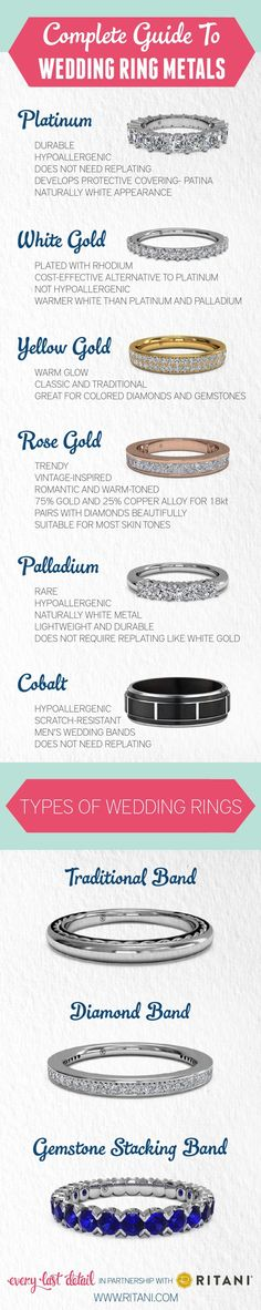 A Complete Guide to Wedding Ring Metals via TheELD.com