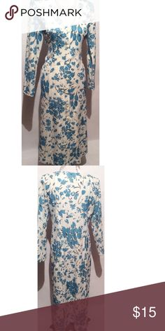Blue & White Vintage Maxi Dress Size Large 100% polyester . length 49 bust 38. no tags attached Vintage Dresses Maxi