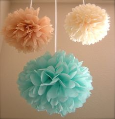 At the Beach Tissue Paper Pom Poms  Pack of by PrettywithSprinkles, $25.00