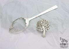 by the Hairy Growler handcrafted and recycled spoon Fibonacci spiral tree brooch