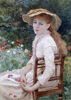 Edward Killingworth Johnson (1825 - 1896) - Young lady seated in a garden