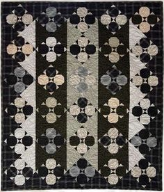 """Harmony"" quilt pattern by Joe Wood at Thimble Creek:  snowballs in black, gray and taupe"