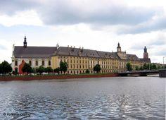 Breslau (Wroclaw), Blick über die Oder (Odra) zur Universität (Uniwersytet),