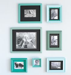 Using 2-ounce (sample-size) jars of paint in five colors, we painted the frames, sometimes layering colors. Once the frames were dry, we took them to a framing shop and bought precut mats in a single color. Finally, we printed our photos in black and white, placed them in the frames, and mounted the frames on the wall.