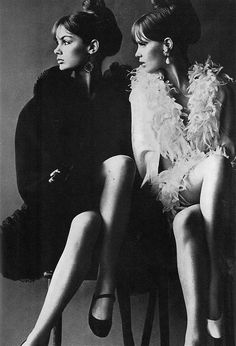 hollyhocksandtulips:  Jean Shrimpton and Celia Hammond, Vogue UK, 1966 Photo by Helmut Newton