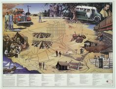 The John Steinbeck Map of America features popular images from Steinbeck's novels such as Tortilla Flat (1935), The Grapes of Wrath (1939), and The Pearl (1947). The outline of the map shows the route of Travels with Charley (1962), and the central portion consists of detailed street maps of the California towns of Salinas and Monterey, where Steinbeck lived and set some of his works. Library of Congress
