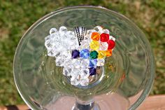Rainbow Awareness Ribbon Swarovski Crystal by HandmadeJILLry, $30.00