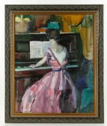 """- PETERSON, """"WOMAN AT THE PIANO,"""" O/C 20th C. Modern Design and Fine Art Auction 