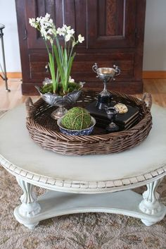 Cute French Country Coffee Table Vignette