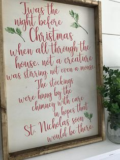 Items similar to Night Before Christmas Sign - Christmas Sign - Twas The Night Before Christmas Sign - Wood Christmas Sign - Farmhouse Christmas Sign on Etsy Before Christmas, Christmas Holidays, Christmas Decorations, Halloween Crafts, Holiday Crafts, Christmas Signs Wood, All Grown Up, Farmhouse Christmas Decor, Painted Signs