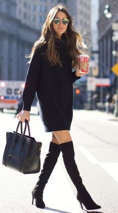 #winter #fashion /  The Black Sweater Dress + Black OTK Boots