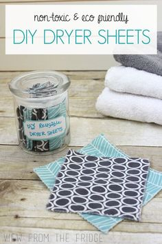Why use the TOXIC store bought dryer sheets?!? These DIY Homemade Dryer Sheets only require a couple ingredients and are SO MUCH healthier for your family! From View From The Fridge Frugal Living Tips #frugal #savingmoney #thrifty