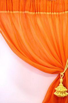 Orange sheer curtain panel 110  tall x 51 wide  by Eleptolis
