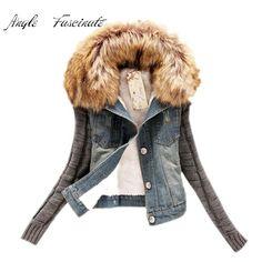 Casaco feminino冬女性ファッションデニムジャケット可動毛皮の襟ウールコートボンバージャケットジャン女性基本コート