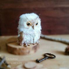 Сова. Авторская интерьерная игрушка. Смешаная техника. 14 см. Handmade owl