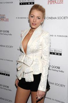 Blake Lively wears a white Marchesa jacket