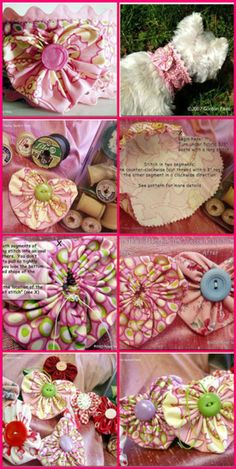 Heart yo-yos -embellishment idea (round yoyos would also be good, esp in knit cotton) Easy Sewing Projects, Quilting Projects, Sewing Crafts, Craft Projects, Cute Crafts, Crafts To Make, Diy Crafts, Yo Yo Quilt, Heart Crafts