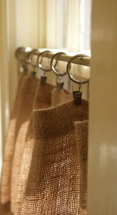 Hessian / Burlap Cafe Curtains. Or shower curtain with ruffle bottom?
