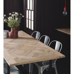 Parquet Recycled Timber Dining Table | Domayne Online Store Timber Dining Table, Dinning Table, Dining Room, Fish House, Farmhouse Table, Dining Furniture, Wood Design, Furniture Makeover, Sweet Home