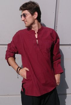 Men's long sleeve style shirt Ethnic Kurta Hippie by manaKAmana Cotton Shirts For Men, Loose Shirts, Long Sleeve Shirts, Indian Men Fashion, Mens Fashion, Kurta Men, Island Shirts, Chinese Clothing, Kurta Designs