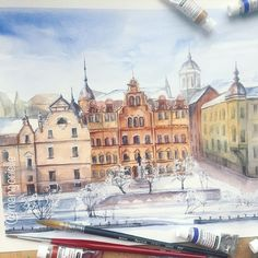 Снежный Выборг ❄️ Winter watercolor landscape of Snowy Vyborg, a town located not far from Saint Petersburg.