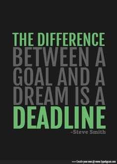 The difference between a goal and a dream is a deadline. -Steve Smith