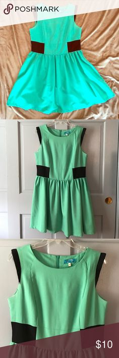 MOVING SALE💜 adorable mint dress Such a cute dress in a green mint color with black parts at the waist and shoulders. Zips in the back Dresses Mini