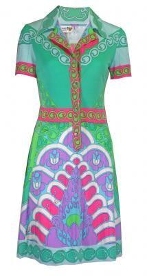LEONARD 1970'S FLURO PRINT DRESS