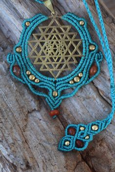 Sri yantra pendant, Macrame Pendant, brass pendant, sacred geometry, flower of life, Symbols jewelry, Bohemian jewelry, READY TO SHIP by TheTomentosaShop on Etsy