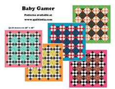 New Baby Quilt Pattern - uses just 4 - 1/2 yard cuts of fabric.  Super easy pattern!