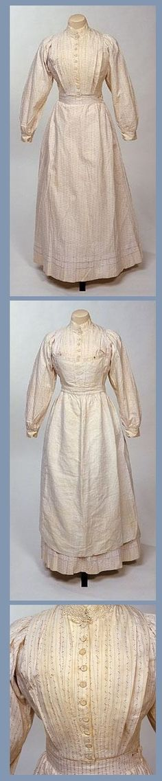 c.1900 – 1910 Maid's dress: white cotton, printed in purple sprigs: At Christmas, a housemaid or kitchen servant was often presented with fabric for a new dress, which she then had to make herself. The  distinctive white cotton bib-apron, and cap could be home-made, or easily bought in a department stores.
