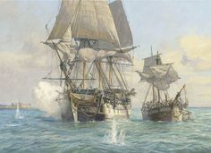 Trouble off Elsinore by Geoff Hunt, another in his short series of paintings paying tribute to Hornblower. HMS Nonsuch takes the dismasted Harvey in tow. A scene from CS Forester's The Commodore:- Hornblower accepts with alacrity when the Admiralty puts him in command of a squadron and sends him on a diplomatic and military mission to the Baltic.