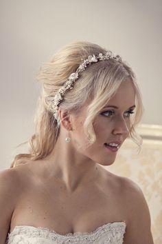 Pearl flower crown, bridal flower crown, Wedding tiara with pearls and babys breath flowers, Wedding flower crown, style ***Eve*** by MaijasWeddingBliss on Etsy https://www.etsy.com/listing/256713472/pearl-flower-crown-bridal-flower-crown