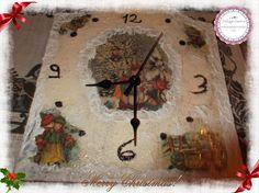 orologio di natale con carta riso e brillantini