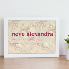 beautifully timeless and individual children's print which can be uniquely personalised with a childs name and meaning. This print would make a lovely gift to c Greek Meaning, Names With Meaning, Personalised Prints, Kid Names, Poster Prints, Posters, Children, Frame, Gifts