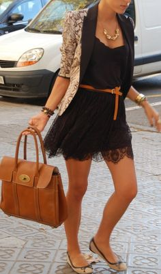 well put together outfit - black lace dress + belt in cognac + flats + blazer
