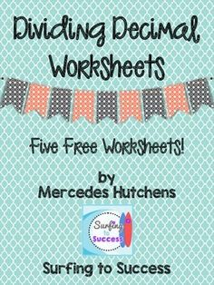 This contains five worksheets to practice dividing decimals. I designed it to accompany my Dividing Decimals PowerPoint. Common Core Standards Addressed: Fifth Grade Common Core Standard Mathematics 5th Grade Math Games, Fifth Grade Math, Math Tutor, Teaching Math, Teaching Ideas, Decimals Worksheets, Math Fractions, Multiplication, Math Lesson Plans
