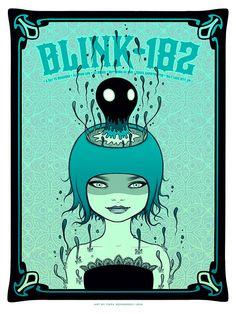 """Blink 182 - Salt Lake City, UT 2016"" by Tara McPherson. 18"" x 24"" 7-color Screenprint. Artist edition of 100 S/N. $60"