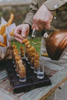 Churros shooters -- Rockwell and Events is proud to cater all throughout Utah since We specialize in wedding private catering & corporate catering. Dessert Party, Snacks Für Party, Dessert Table, Party Food Catering, Catering Display, Wedding Catering, Catering Ideas, Dessert Catering, Finger Food Catering