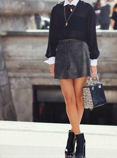 chifonny sheer blouse + suede-ish miniskirt