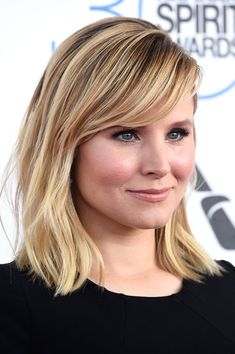 Kristen Bell Medium Straight Cut with Bangs - Kristen Bell sported a tousled 'do with side-swept bangs during the Film Independent Spirit Awards.