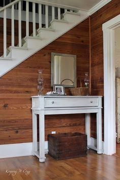 Knotty Pine Living Room, Knotty Pine Decor, Knotty Pine Rooms, Knotty Pine Kitchen, Stained Shiplap, Cedar Walls, White Paneling, Wood Paneling Decor, Wood Interiors