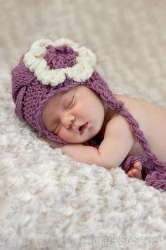 Newborn Baby Girl Hat  - Knit Baby Hat With Flower - Knit Newborn Hat. $16.50, via Etsy.