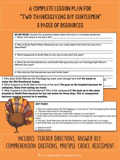 """A complete lesson plan with all student materials and an answer key for teaching O'Henry's """"Two Thanksgiving Day Gentlemen. 7th Grade Ela, Middle School Ela, Teaching Tools, Teaching Strategies, Teaching Resources, Teacher Pay Teachers, Elementary Teacher, Upper Elementary, Survival Tips"""