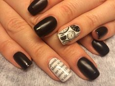 Black and white nail ideas, Evening nails, Everyday nails, Festive nails, Luxurious nails, Nails with clock, Nails with letters, Nails with paper